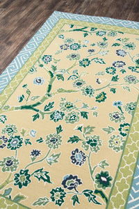 Madcap Cottage by Momeni Under A Loggia Blossom Dearie Yellow Indoor/Outdoor Area Rug-Area Rug-Momeni-The Rug Truck