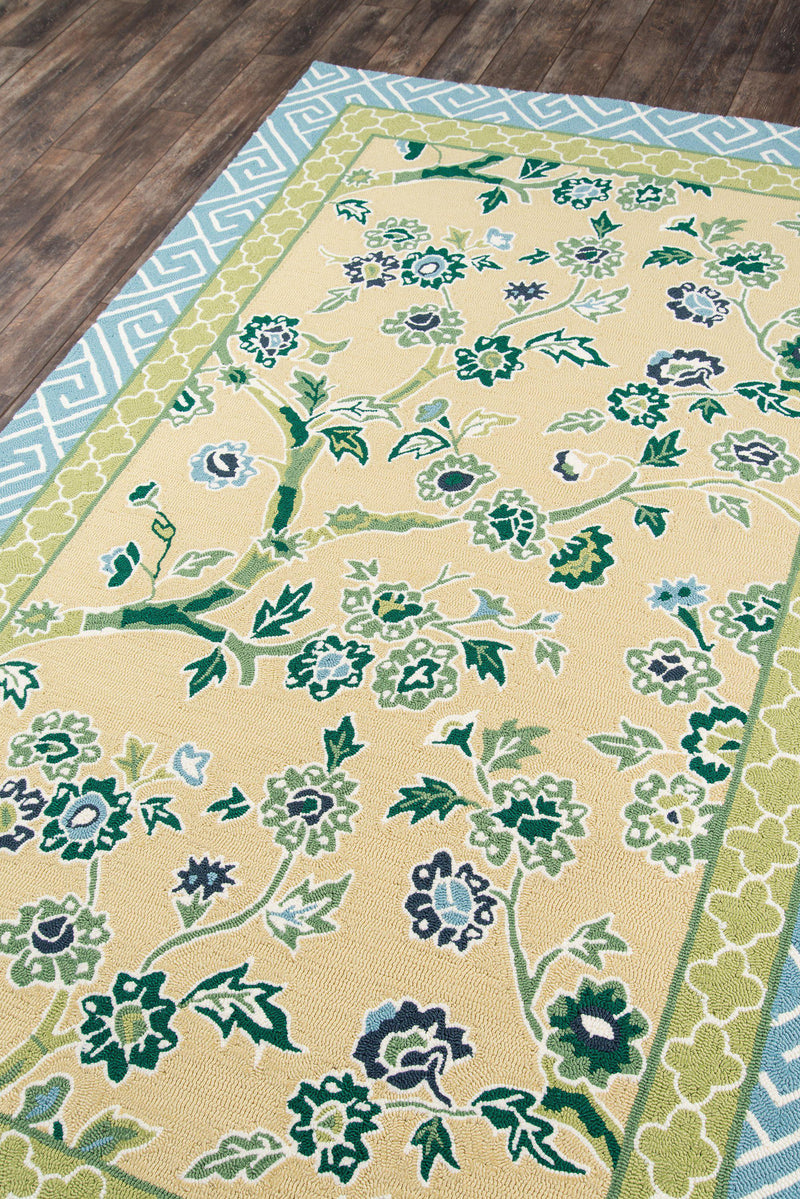 Madcap Cottage by Momeni Under A Loggia Blossom Dearie Yellow Indoor/Outdoor Area Rug-Area Rug-Momeni-2' X 3'-The Rug Truck