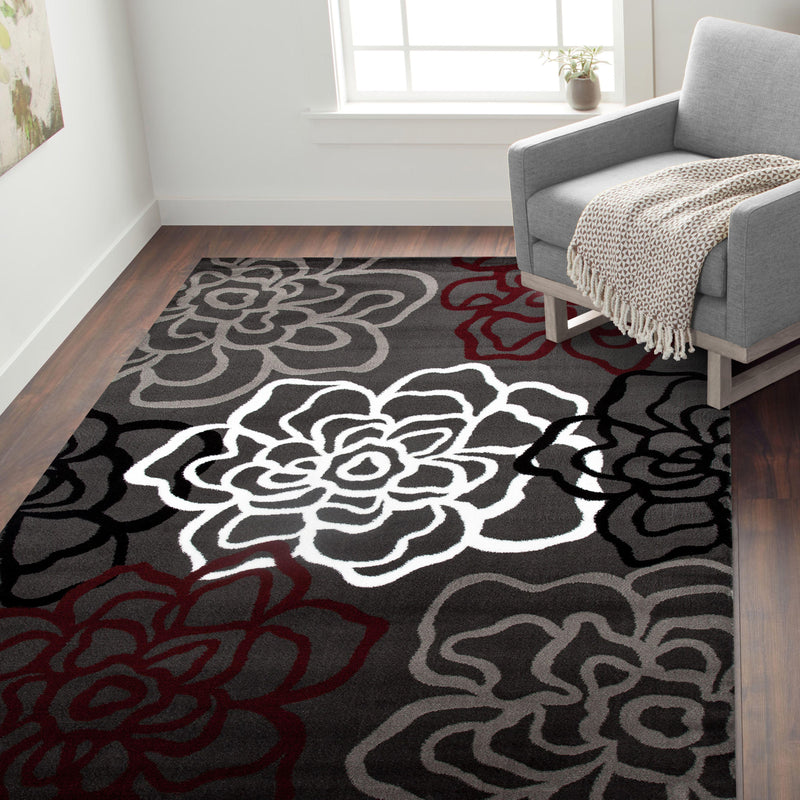 Alpine 108 Red/Grey Area Rug-Area Rug-World Rug Gallery-2' x 3'-The Rug Truck