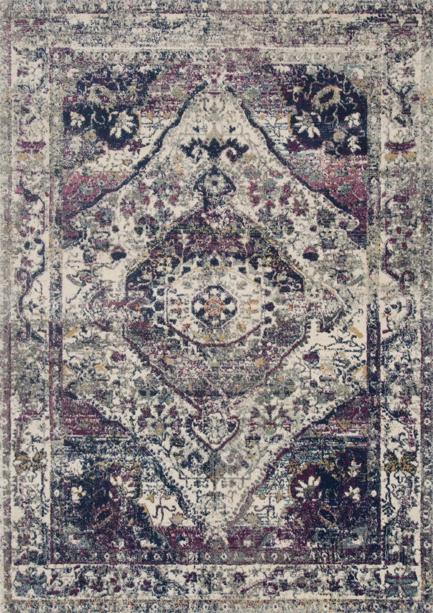 "Zehla ZL-05 Ivory / Berry Area Rug-Area Rug-Loloi-2'-2"" X 3'-9""-The Rug Truck"