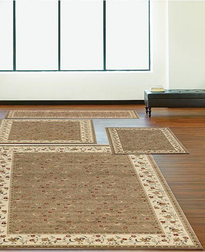 Florence Floral Beige-Area Rugs-KM Home-4 Piece Set-The Rug Truck