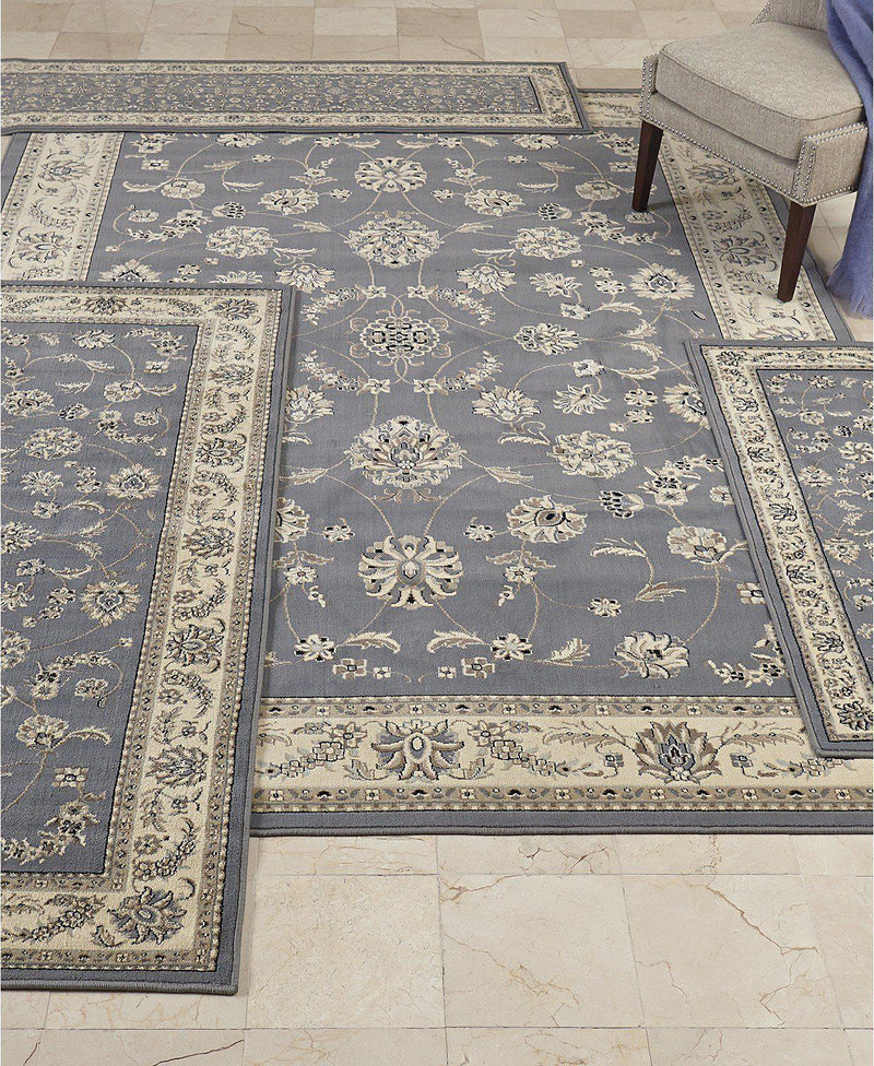 Florence Isfahan Grey/Blue-Area Rugs-KM Home-4 Piece Set-The Rug Truck