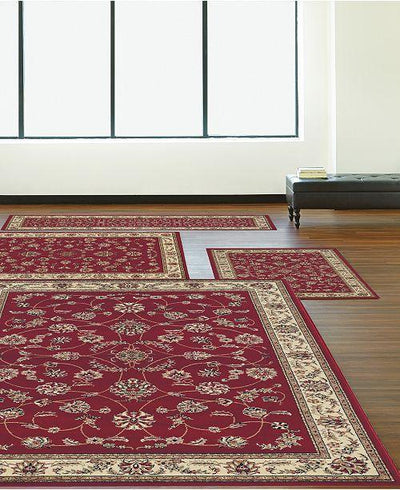 Florence Isfahan Red-Area Rugs-KM Home-4 Piece Set-The Rug Truck