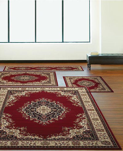 Florence Kerman Red-Area Rugs-KM Home-4 Piece Set-The Rug Truck