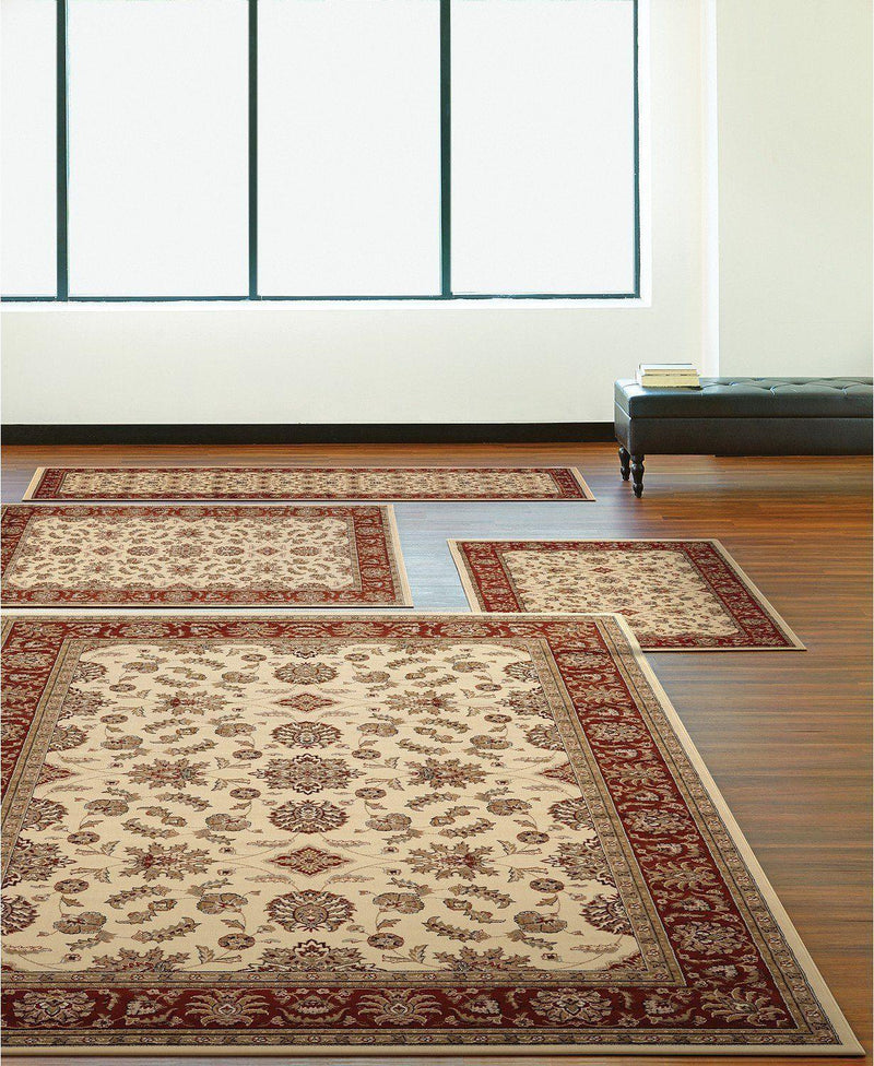 Florence Meshed Ivory/Brick-Area Rugs-KM Home-4 Piece Set-The Rug Truck