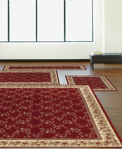 Florence Trellis Red-Area Rugs-KM Home-4 Piece Set-The Rug Truck