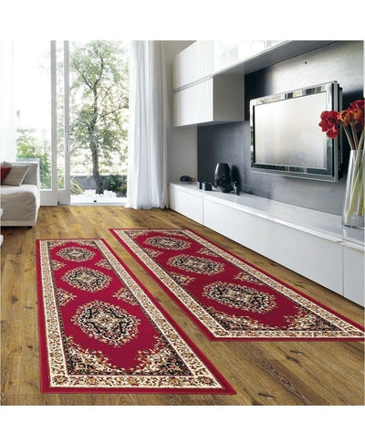 Prato Kerman Red-Area Rugs-KM Home-2 Piece Runner Pack-The Rug Truck