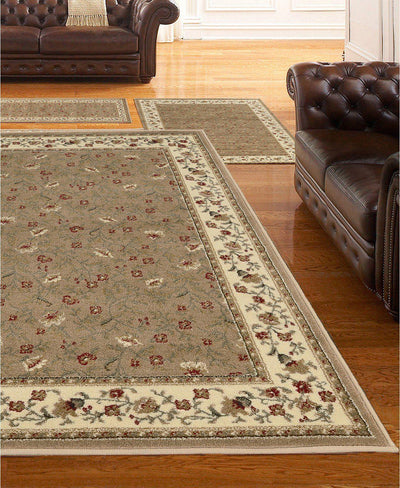 Roma Floral Beige-Area Rugs-KM Home-3 Piece Set-The Rug Truck