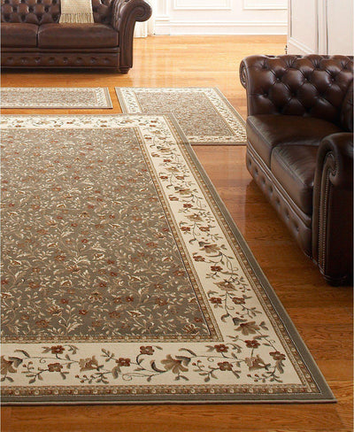 Roma Floral Sage-Area Rugs-KM Home-3 Piece Set-The Rug Truck