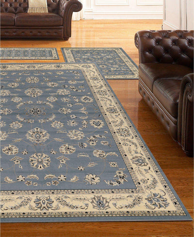 Roma Isfahan Grey/Blue-Area Rugs-KM Home-3 Piece Set-The Rug Truck