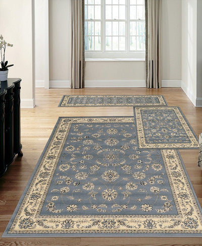 Stadio Isfahan Grey/Blue-Area Rugs-KM Home-3 Piece Set-The Rug Truck