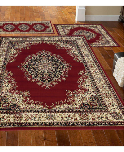 Stadio Kerman Red-Area Rugs-KM Home-3 Piece Set-The Rug Truck