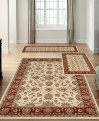 Stadio Meshed Ivory/Brick-Area Rugs-KM Home-3 Piece Set-The Rug Truck