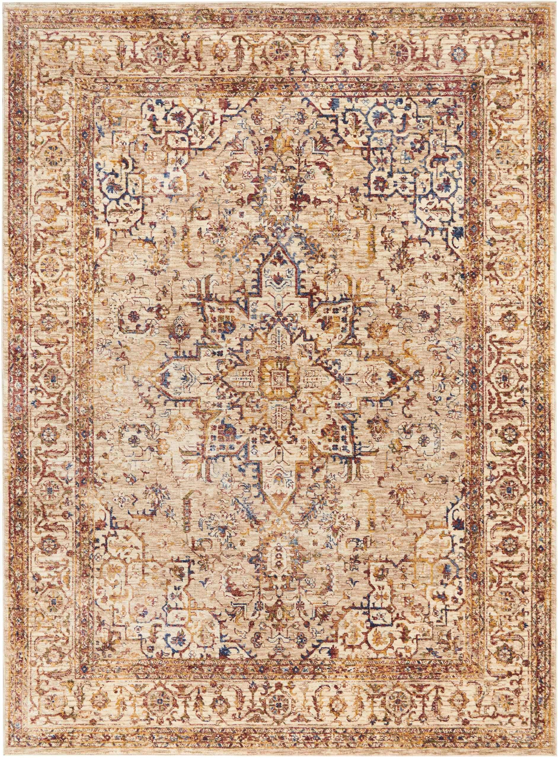 Taza TAZ02 Heriz Beige-Area Rugs-Kenneth Mink Home-3' x 5'-The Rug Truck