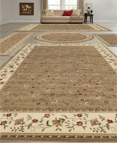 Vienna Floral Beige-Area Rugs-KM Home-5 Piece Set-The Rug Truck