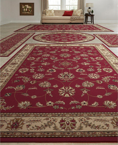 Vienna Isfahan Red-Area Rugs-KM Home-5 Piece Set-The Rug Truck