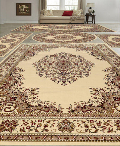 Vienna Kerman Ivory-Area Rugs-KM Home-5 Piece Set-The Rug Truck
