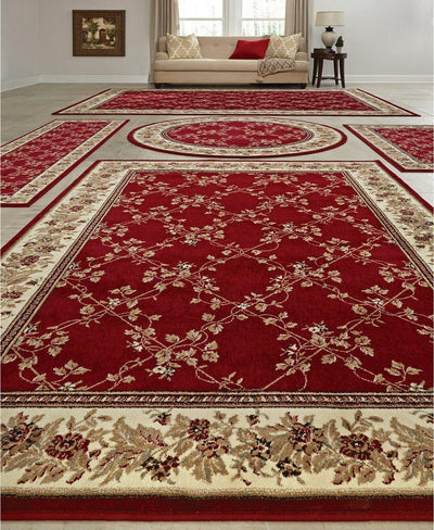 Vienna Trellis Red-Area Rugs-KM Home-5 Piece Set-The Rug Truck