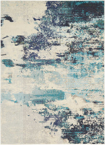 Celestial CES02 Ivory Teal Blue Area Rug-Area Rug-Nourison-The Rug Truck