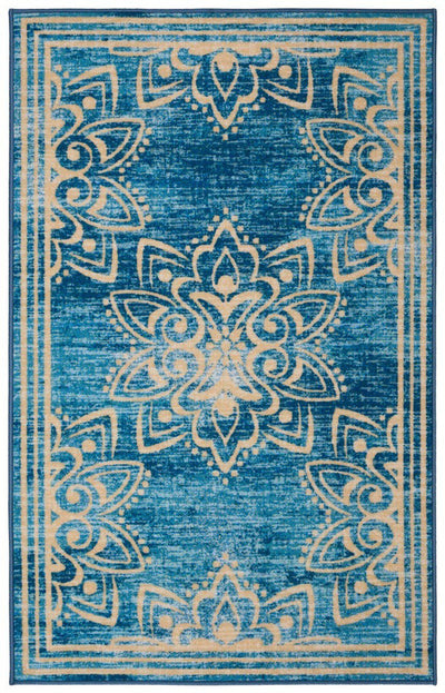 "Safavieh Collection Inspired by Disney's Live Action Film Aladdin - Wonder Rug, Turquoise / Gold-Area Rug-Safavieh-3' 3"" X 5' 3""-The Rug Truck"