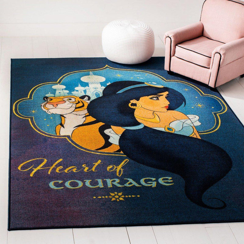 "Safavieh Collection Inspired by Disney's Aladdin - Heart Of Courage Rug, Blue / Turquoise-Area Rug-Safavieh-2' 3"" X 3' 9""-The Rug Truck"
