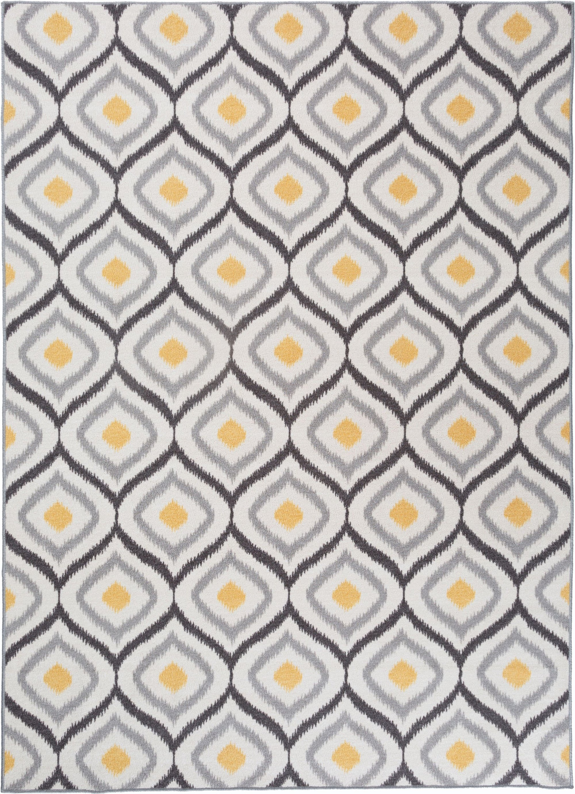 "Avora 512 Gray/Yellow Area Rug-Area Rug-World Rug Gallery-1'8"" x 2'6""-The Rug Truck"