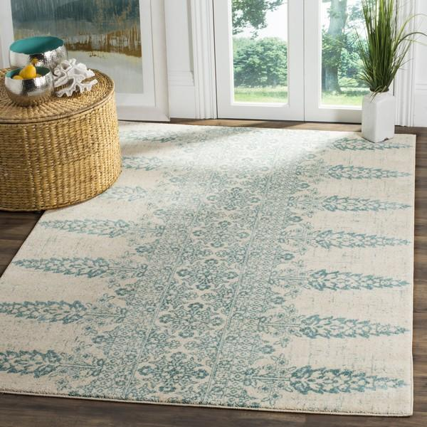 Safavieh Evoke 521 Ivory / Teal-Area Rug-Safavieh-The Rug Truck