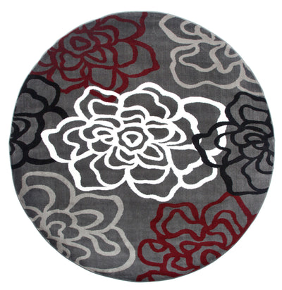 "Alpine 108 Red/Grey Area Rug-Area Rug-World Rug Gallery-6'6"" Round-The Rug Truck"