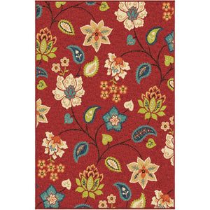 "Alfresco Garden Chintz Red-Area Rug-The Rug Truck-5'1"" x 7'6""-The Rug Truck"