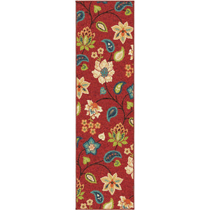 Alfresco Garden Chintz Red-Area Rug-The Rug Truck-2'3
