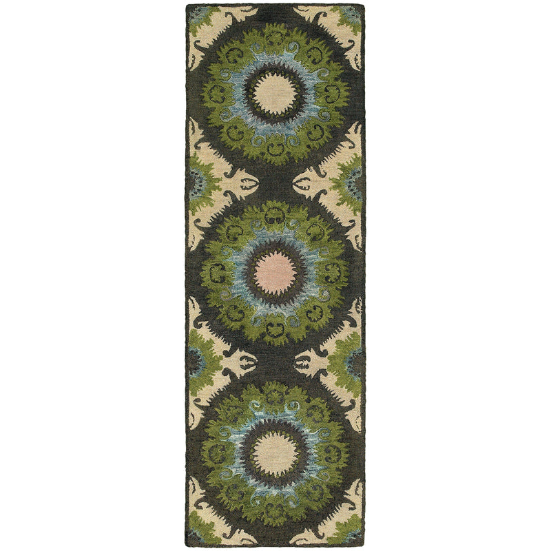"Tommy Bahama Home Jamison 53307 Black/Green-Area Rug-Tommy Bahama Home-3' 6"" X 5' 6""-The Rug Truck"
