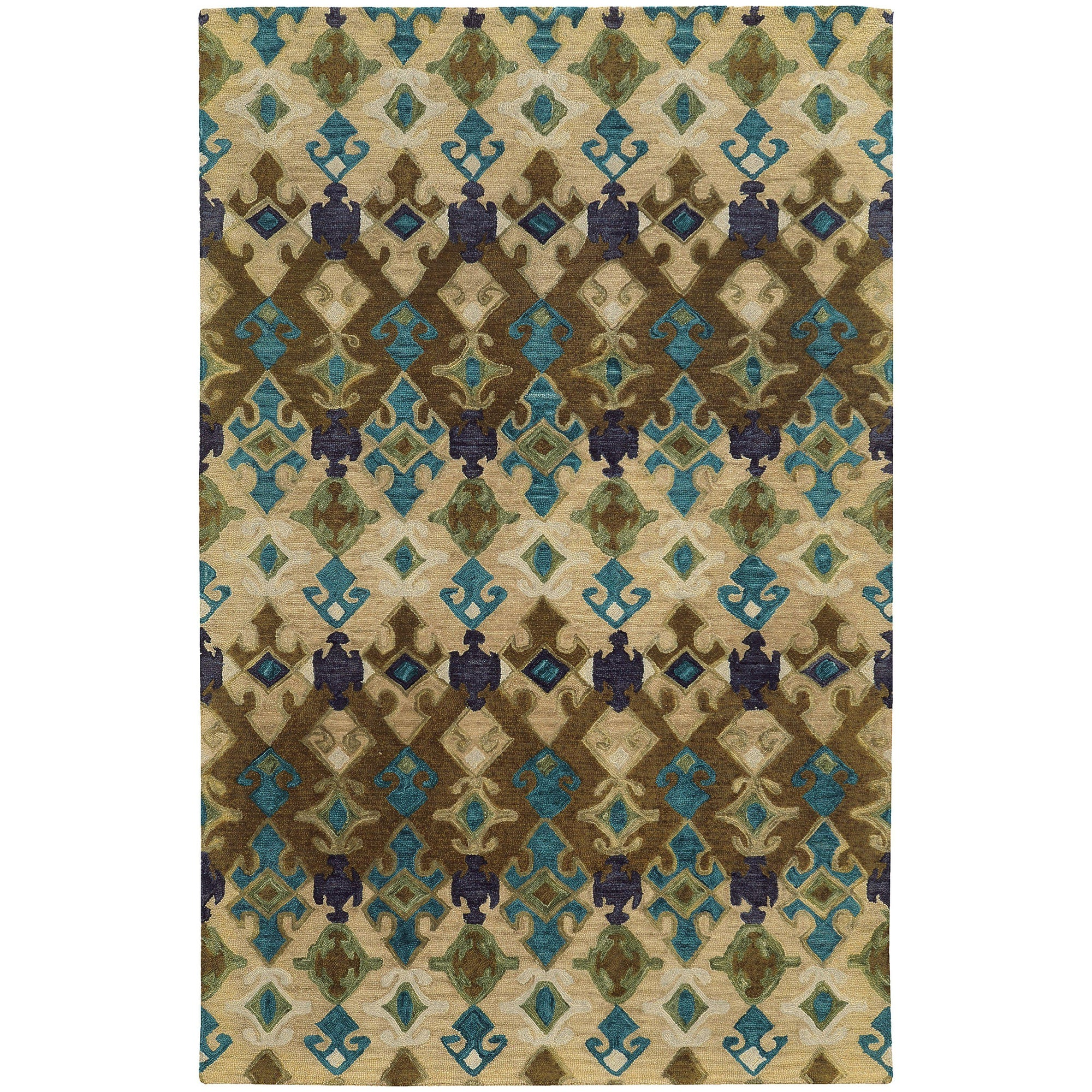 "Tommy Bahama Home Jamison 53308 Beige/Blue-Area Rug-Tommy Bahama Home-3' 6"" X 5' 6""-The Rug Truck"
