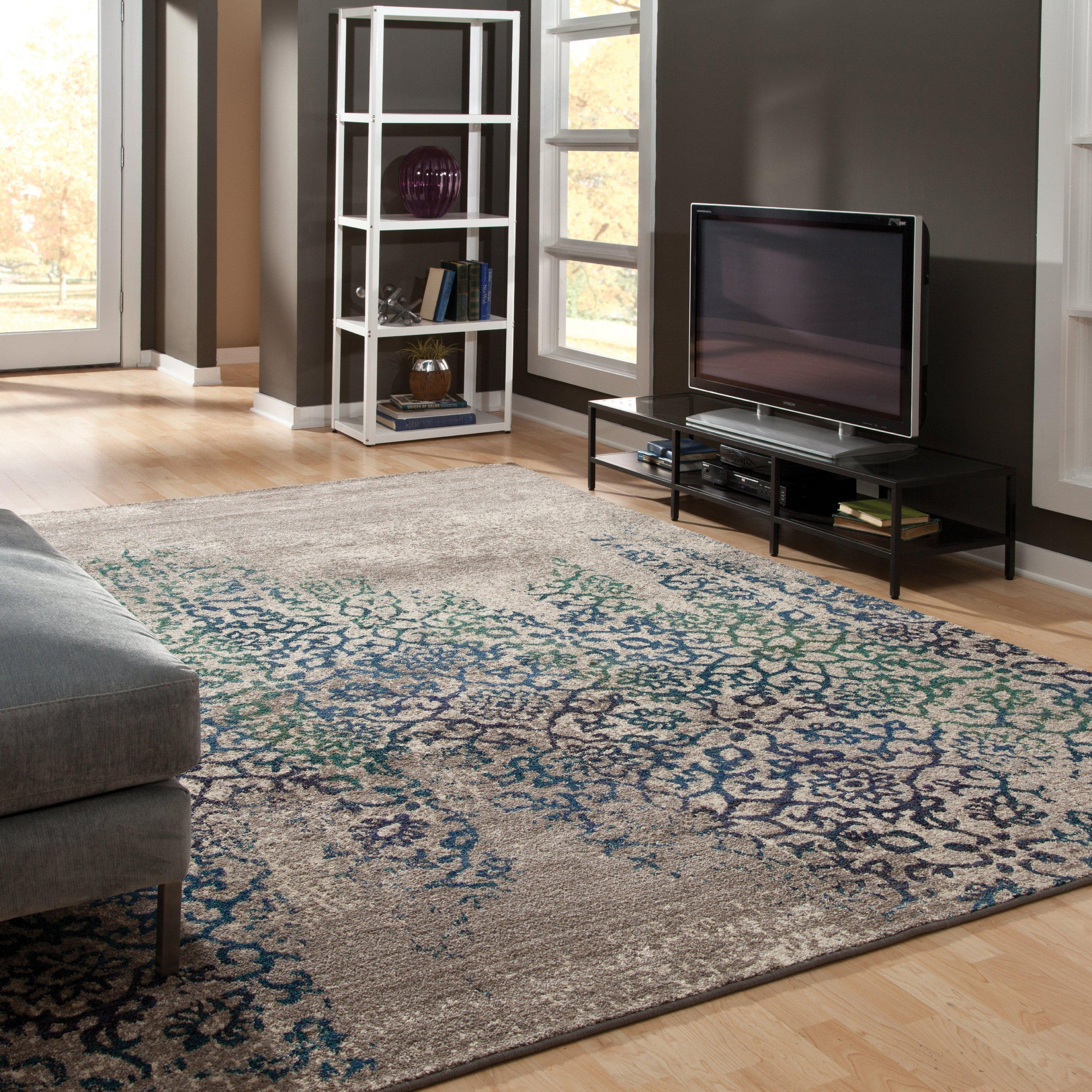 "Kaleidoscope - 504D5 - Grey/Blue-Area Rug-Oriental Weavers-4' 0"" X 5' 9""-The Rug Truck"
