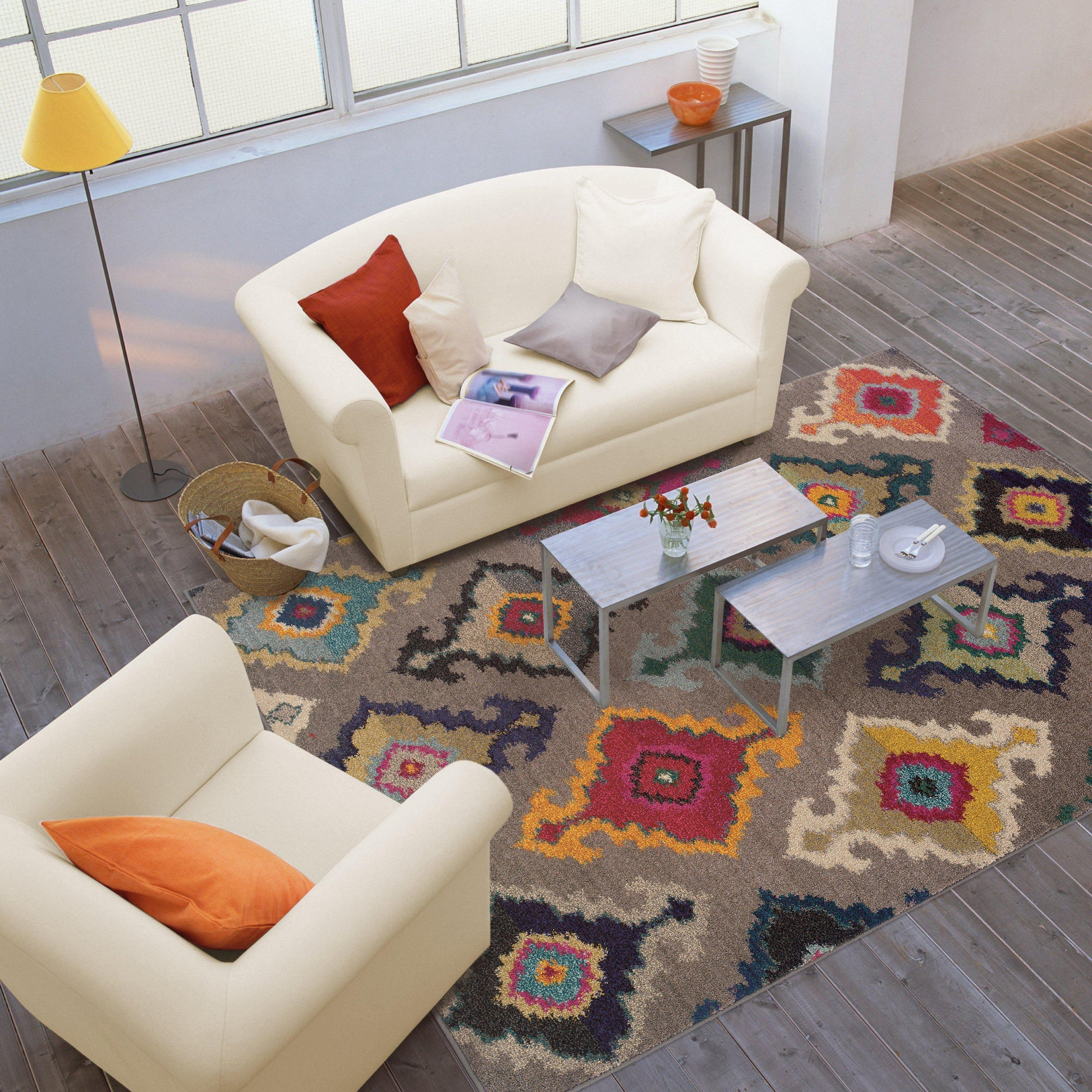 "Kaleidoscope - 5990E - Grey/Multi-Area Rug-Oriental Weavers-4' 0"" X 5' 9""-The Rug Truck"