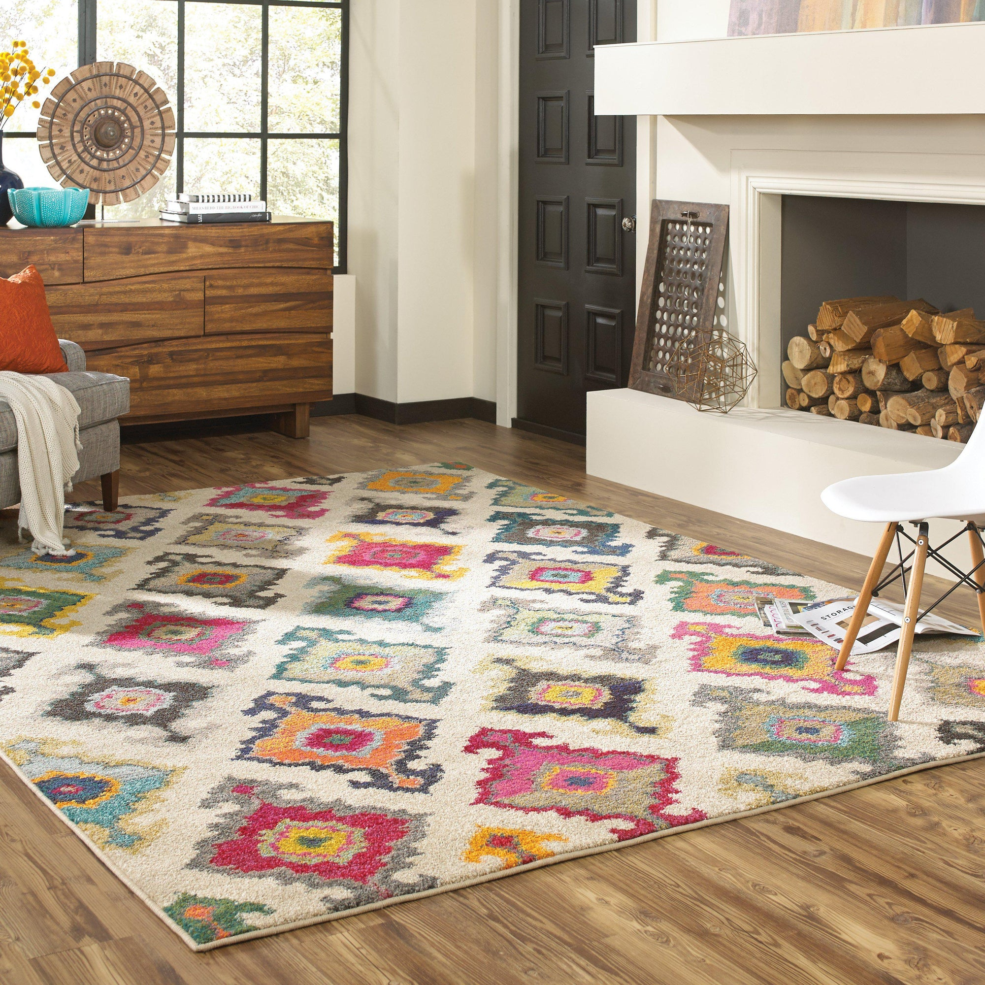 "Kaleidoscope - 5990Y - Ivory/Multi-Area Rug-Oriental Weavers-4' 0"" X 5' 9""-The Rug Truck"
