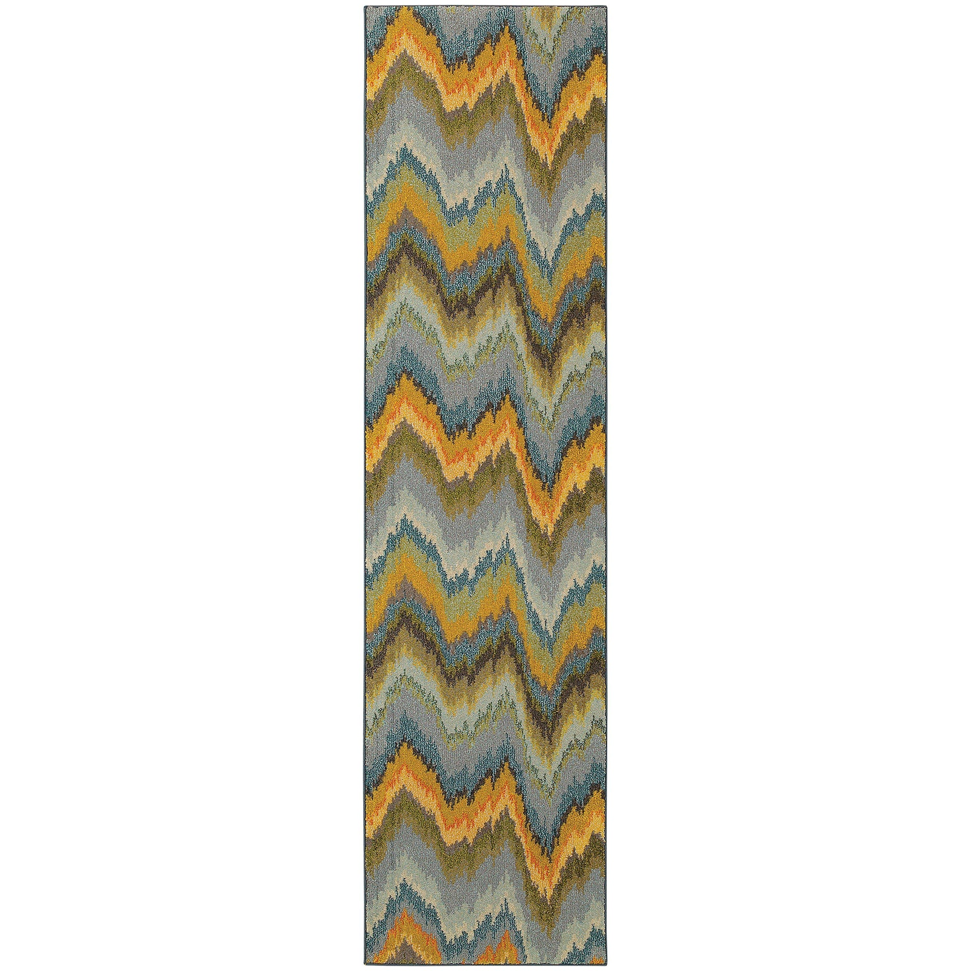 "Kaleidoscope - 8020G - Yellow/Blue-Area Rug-Oriental Weavers-4' 0"" X 5' 9""-The Rug Truck"