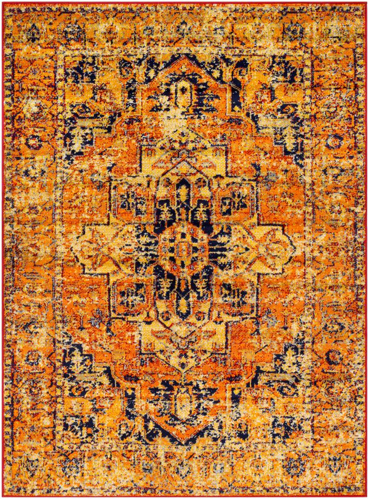 "Monte Carlo MNC-2316 Bright Orange Area Rug-Area Rug-Surya-5'3"" x 7'3""-The Rug Truck"