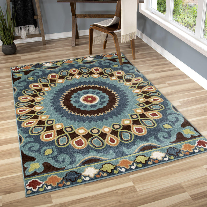 "Alfresco Indo China Admiral Blue-Area Rug-The Rug Truck-5'1"" x 7'6""-The Rug Truck"