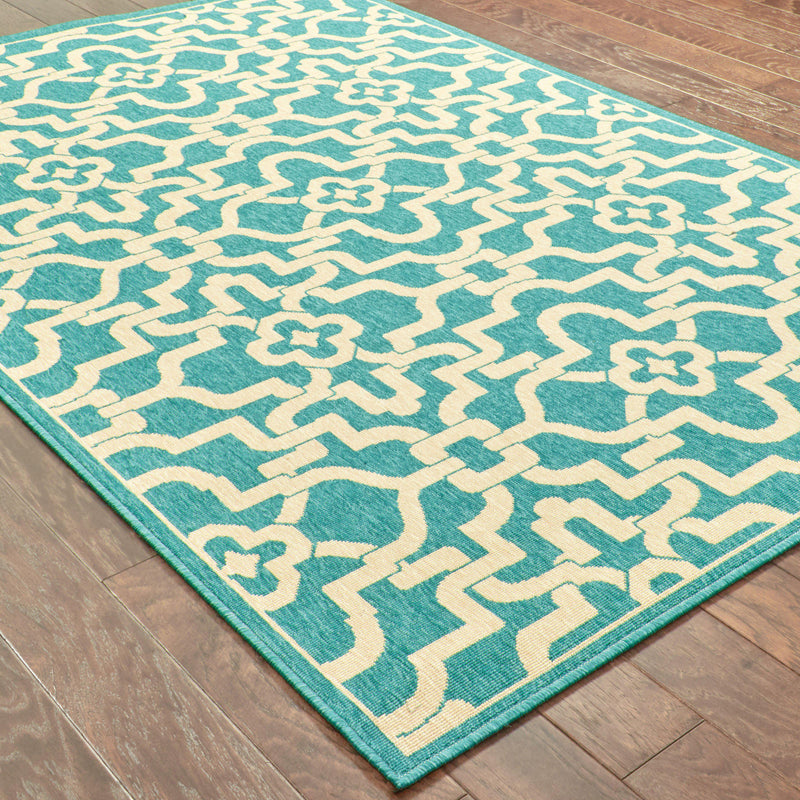 "Tommy Bahama Home Seaside 3361l Teal/Beige-Area Rug-Tommy Bahama Home-2' 5"" X 4' 5""-The Rug Truck"