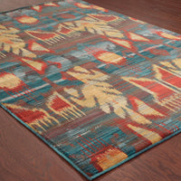 Sedona - 4378H - Charcoal/Blue-Area Rug-Oriental Weavers-The Rug Truck
