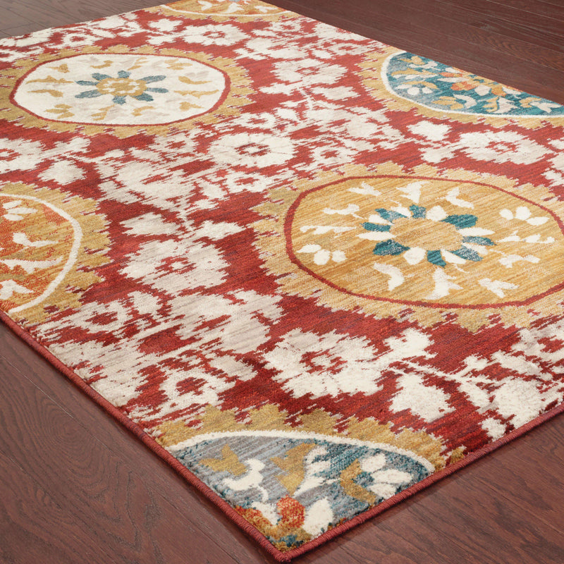 "Sedona - 6366A - Red/Gold-Area Rug-Oriental Weavers-1'10"" X 3' 0""-The Rug Truck"