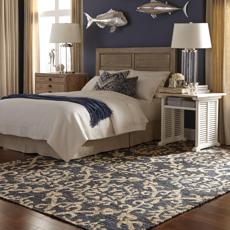 "Tommy Bahama Home Valencia 57704 Navy/Beige-Area Rug-Tommy Bahama Home-3' 6"" X 5' 6""-The Rug Truck"