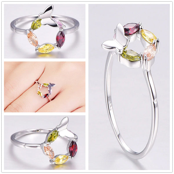 Butterfly Style Marquise Zircon Silver 925 Ring all
