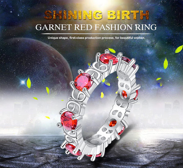 Circle Round Cut Red Cubic Zircon Silver Ring offer
