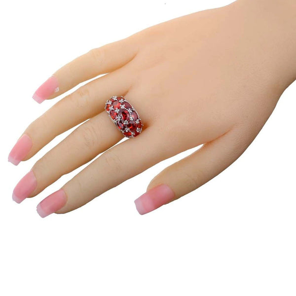 Garnet Silver Ring Noble Women in Hand