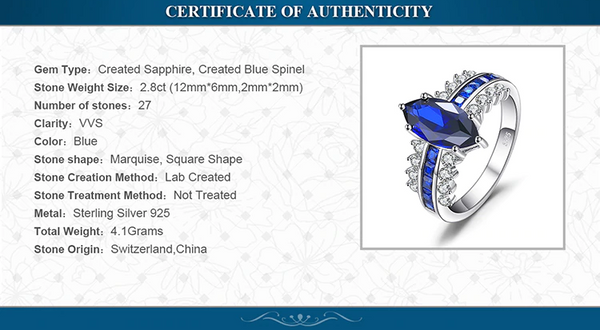 Luxury Created Blue Sapphire Ring 925 Sterling Silver details
