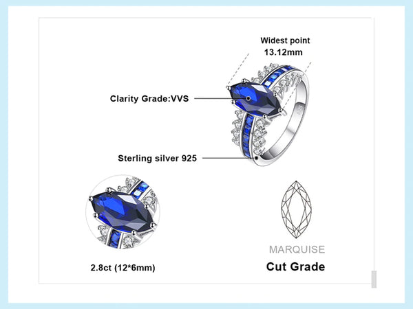 Luxury Created Blue Sapphire Ring 925 Sterling Silver features