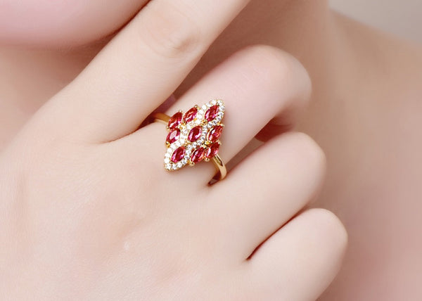 Marquise Elegant Red & White Zircon Yellow Gold Color Ring in hand