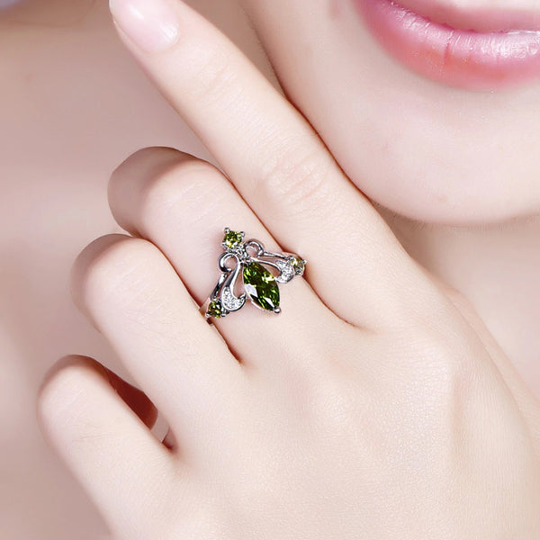 Marquise Red & Olive Green White CZ Silver 925 Ring hand