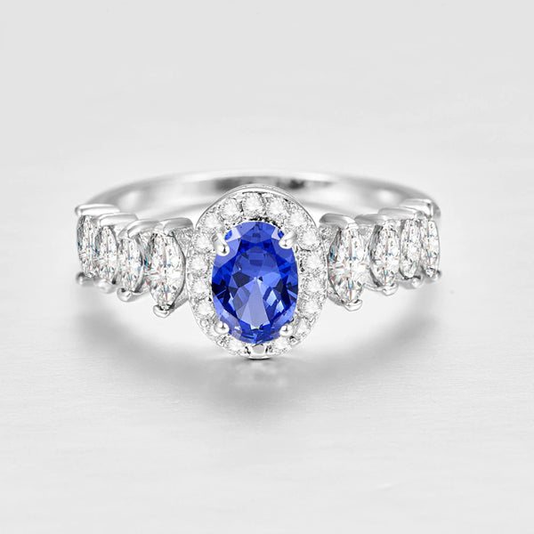 Oval Cut Red & Blue & White Zircon Silver Ring2